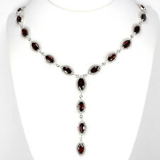 Sterling Silver 925 Genuine Deep Red Garnet Drop Necklace 20 to 21.5 Inches