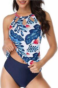 Yonique Womens 2 Piece Tankini Swimsuit Halter Floral, Blue, Size XX-Large aCMX