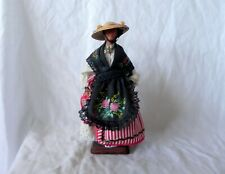 Santons Yolande France WOMAN WITH HAT CLAY DOLL FIGURINE
