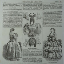 Clothing & Fashion PARIS FASHION FOR MARCH Original Victorian Print 1854