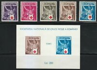 Romania 1941 MNH Mi 696-700+Block 16 Sc B164-B169 Romanian Red Cross **