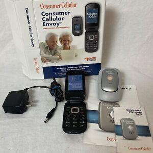 Consumer Cellular Envoy Flip Phone & Ally Alert Button Senior Friendly w/charger