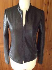 Superbe costes noir peau de serpent synthétique imprimé veste uk taille xs (8) neuf sans étiquette