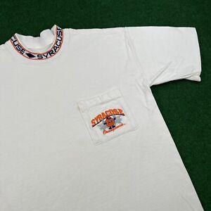 VTG 90S Syracuse Orangemen Orange Football NCAA White Pocket T Shirt Tee Mens M