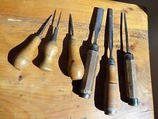 anciens outils gouges et autres pour sculpture sur bois ebenisterie menuiserie