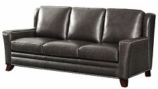 Traditional Greystone Genuine Leather Sofa With Nailhead Trim