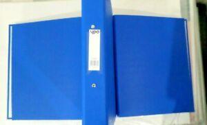 4  A4 BLUE Metal Ring Binder Document Folder Filing  + 100 MULTI PUNCHED POCKETS