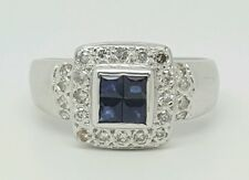 14k White Gold 0.82 Ct Genuine Round Diamond & Blue Sapphire Ring Size 7 3/4