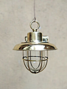 OLD ANTIQUE SALVAGE BRASS NAUTICAL SHIP HANGING LIGHT WITH DEFLECTOR COVER