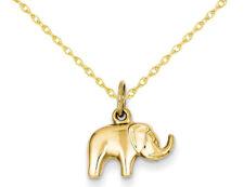 Encanto Colgante Collar de elefante en oro Amarillo de 14K con cadena