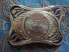 NEW  BELT BUCKLE SILVER METAL AMERICAN HALF DOLLAR COIN USA WESTERN COWBOY