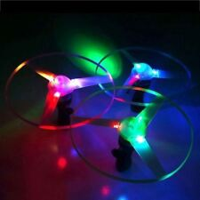 3pc Funny Colorful Pull String LED Light Up Frisbee Flying Saucer Disc Kids Toy
