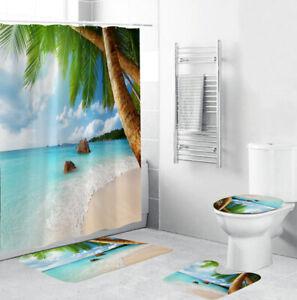 Coco Beach Shower Curtain Bathroom Rug Set Bath Mat Non-Slip Toilet Lid Cover