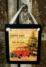 Country Roads Take Me Home Red Truck Primitive Rustic Farmhouse Wooden Sign