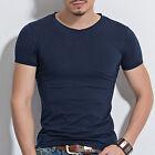 Hombre Ajustado Tops De Algodón Camiseta Casual Manga Corta O/Cuello En V Estilo