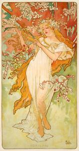 Spring Printemps 1896 Alphonse Mucha Art Nouveau Giclee Canvas Print 17X32