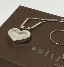 """❤️ SILPADA N0514 DIDAE Hammered 925 Sterling Silver HEART Necklace 17"""" 5.5g"""