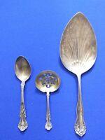 Vintage sterling Silver flatware Pat. 1899 Serving Spoon Lot Of 3
