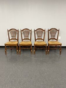 Ethan Allen Maison Wheatback Chairs w/ Rush Seats #37-6412 Rustique -Set of 4-