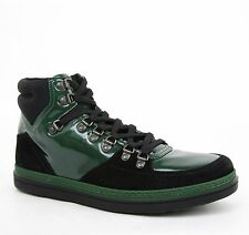New Gucci Men's Leather Suede Contrast Combo High-top Sneaker Green 368496 1077