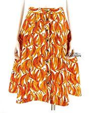 New Anthropologie Maeve Banana Grove Denim Midi Skirt SZ 4 Whimsical Fruity Mod