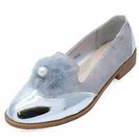 LADIES SILVER SLIP-ON POM-POM LOAFERS SMART CASUAL WORK PATENT COMFY SHOES 3-8