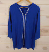 Lands' End Womens Sz M Tunic Shirt Blue with White Embroidery Long Sleeve Y-neck