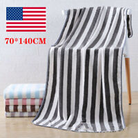 1pcs Cabana Beach Towels 70 x 140CM Extra Large Striped Coral Velvet Bath Towel
