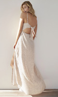 NWT Karlie Kloss Dot Print Tie Back Maxi Dress SOld out value $88 Sz Large