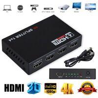 1X4 1X2 HDMI Splitter Hub Full HD Repeater Amplifier 3D 1080P 4K Switch Box pw