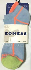 NWT WOMEN'S BOMBAS ORIGINALS ANKLE ICE BLUE/CORAL/GREEN MEDIUM (8-10.5) SOCKS