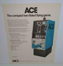MCI Ace Arcade FLYER Original NOS 1970 Vintage Retro Combat Game Paper Art Sheet