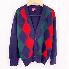 Dore Dore navy blue argyle cardigan wool blend 8
