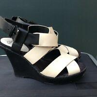 Clarks Leather Sandals Cream & Black Straps,Black Platform Wedges Size 4 EU 37.