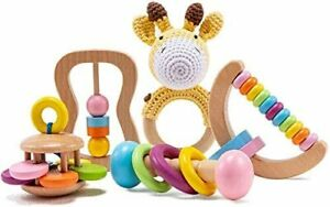 5 PCS Giraffe Organic Wooden Gift, Wood Baby Rattle Montessori