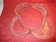 VINTAGE SET OF FOUR DRESCENT SHAPED GLASS PIECES FOR A RELISH TRAY