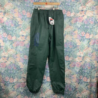 Vintage FILA NWT Mens LG MS Pull On Pants Poly Vinyl Green Spellout Pant Joggers