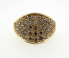 9ct Oro Giallo CHAMPAGNE Anello di diamanti 1.31ct totale