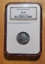 NGC AU58 Canada 1923 George V World Silver 5C 5 Cents Coin