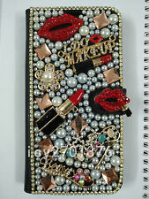 Bling Diamante Diamond Stones Crystal Luxury wallet leather Phone Case Cover D