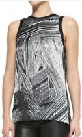 Helmut Lang Women's Black Method Printed Silk Sleeveless Top