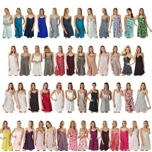 Ladies Satin Chemise Nightie Nightdress Nightshirt Short Slip PLUS SIZE 8 - 34!