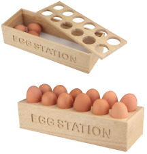 Wooden 12 Eggs Rack Display Holder Tray Container Kitchen Storage Egg Station