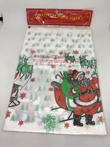 "Vintage Plastic Christmas Tablecloth Waterproof Festive 54""x72"" Table Cover"