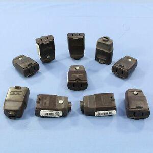 10 Leviton Brown Straight Blade Polarized Connector Plugs NEMA 1-15 15A 125V 102