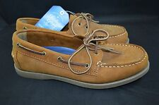 Faded Glory Chesnut Brown Leather Boat Shoes Sz: 8 Deck Slip On Loafers #501