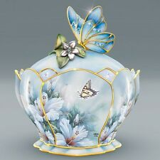 LENA LIU Hibiscus Harmony Porcelain Jeweled MUSIC BOX with Butterfly Handle NEW