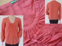 Benetton Bluse Girls Langarm Rundhals lockerer Schnitt Hippie Style rot XS 34 1A