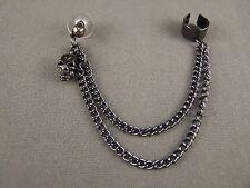 """Pewter dk Grey dangle post stud skull earring ear Cuff 4"""" long chain lightweight"""