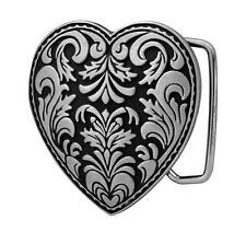 Silver Heart 3-D Belt Buckle on Black Enamel Western Cowgirl NEW